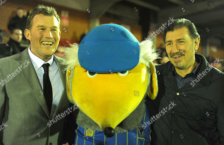 1988 FA Cup final heroes Dave Beasant, left, and Lawrie Sanchez pose for pictures with a Womble