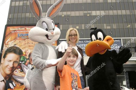Bugs Bunny, Lisa Kudrow, son Julian Stern and Daffy Duck