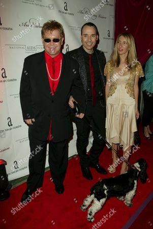 Elton John and partner David Furniss, Sally Taylor Wood and dog