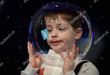 Harry Scott Horley (age 5), a grandson  of Dr Tony Scott, one of the founders of the Young Scientist & Technology Exhibtion