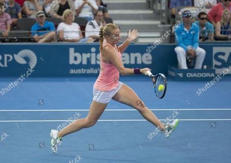 Alla Kudryavtseva of Russia in action at the Brisbane International
