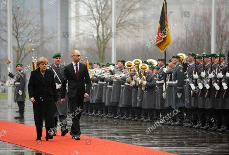 Stock Photo of German Chancellor Angela Merkel meets Ukrainian Prime Minister Arsenij Jaceniuk