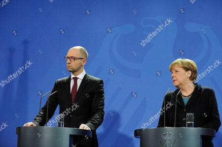 Stock Picture of Ukrainian Prime Minister Arsenij Jaceniuk and German Chancellor Angela Merkel