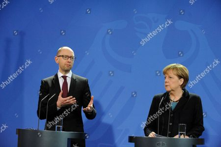 Editorial photo of German Chancellor Angela Merkel welcomes Ukrainian Prime Minister Arsenij Jacenjuk, Berlin, Germany - 08 Jan 2015