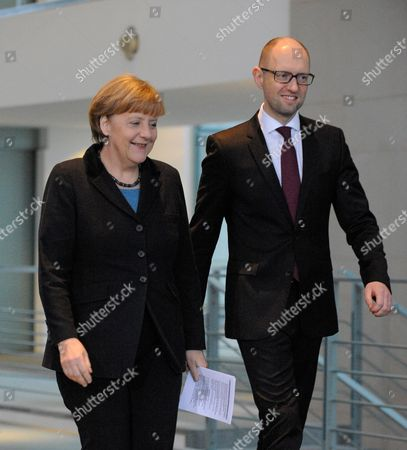 Stock Picture of German Chancellor Angela Merkel meets Ukrainian Prime Minister Arsenij Jaceniuk