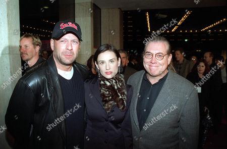 Bruce Willis, Demi Moore and Comic Relief's Bob Zmuda