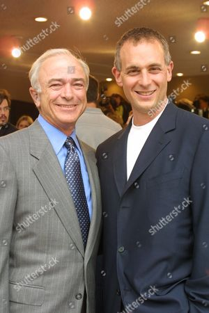 """7/2/01 Westwood, CA Sony's Mel Harris and Columbia Pictures' Peter Schlessel at the Premiere of Columbia Pictures and Square Pictures new computer animated film """"Final Fantasy: The Spirits Within"""". The film features the voices of Peri Gilpin, Donald Sutherland and James Woods. The premiere was held at the Mann Bruin in Westwood and """"Final Fantasy: The Spirits Within"""" opens nationwide July 11, 2001. Photo®Eric Charbonneau/BEI"""
