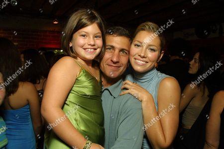 Director Mike Tollin, daughter Georgia and Jessica Biel