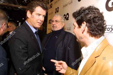 """02/15/01  West Hollywood, CA Pierce Brosnan, Tom Florio (Publisher-GQ Magazine), and Art Cooper (Editor-in-Chief GQ Magazine) at GQ Magazines 2nd Annual """"Hollywood Issue"""". Held at The Factory, with special live performance by Tenacious D. Featuring a silent auction benefeting PROJECT A.L.S. Photo®Eric Charbonneau/BEI"""