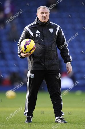 West Bromwich Albion Coach Paul Jewell takes charge of pregame warm-ups
