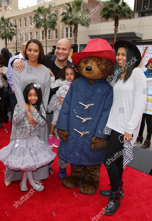 Melanie Brown, Stephen Belafonte and daughters Angel Iris Belafonte, Madison Brown Belafonte, Phoenix Chi Gulzar with Paddington
