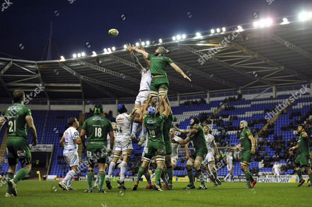 Stock Image of Damian Welch of Exeter Chiefs and Kieran Low of London Irish compete for the ball at a lineout