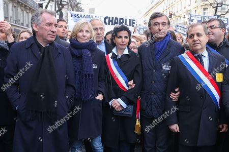 Francois Bayrou, Marielle de Sarnez, Rachida Dati, Philippe Douste-Blazy joined the Unity Rally in tribute to the victims of the recent terrorist attacks