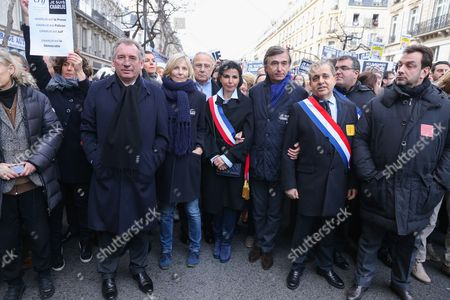 Francois Bayrou, Marielle de Sarnez, Rachida Dati and Philippe Douste-Blazy joined the Unity Rally in tribute to the victims of the recent terrorist attacks