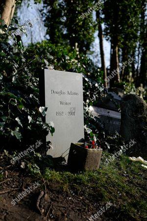 Douglas Adams' grave, Highgate East Cemetery.