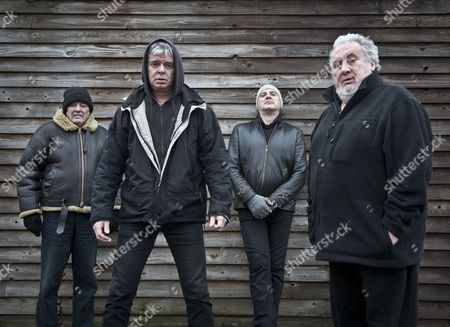 The Stranglers - Dave Greenfield, Jean-Jacques Burnel, Baz Warne and Jet Black at the band headquarters in Frome, Somerset