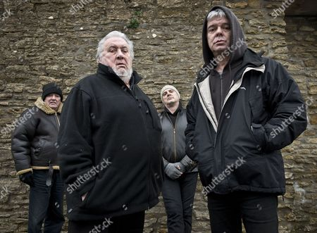 The Stranglers - Dave Greenfield, Jet Black, Baz Warne and Jean-Jacques Burnel at the band headquarters in Frome, Somerset