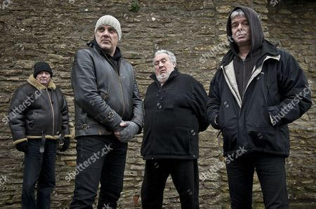 The Stranglers - Dave Greenfield, Baz Warne, Jet Black and Jean-Jacques Burnel at the band headquarters in Frome, Somerset