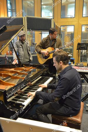 Augustines rehearsing at a studio in London - Rob Allen, Billy McCarthy and Eric Sanderson