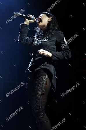 Stock Image of London United Kingdom - November 3: Frontwoman Cristina Scabbia Of Italian Gothic Metal Group Lacuna Coil Performing Live At The Roundhouse In London On November 3