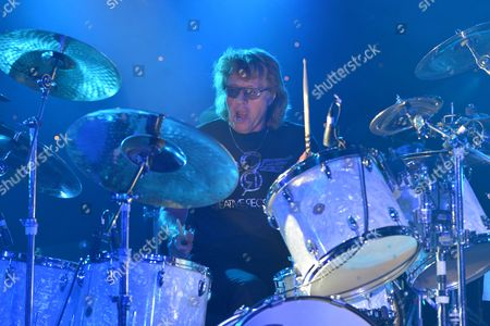 Stock Image of The Giants of Rock Festival, Minehead, Somerset  - The Bev Bevan Band -  Bev Bevan
