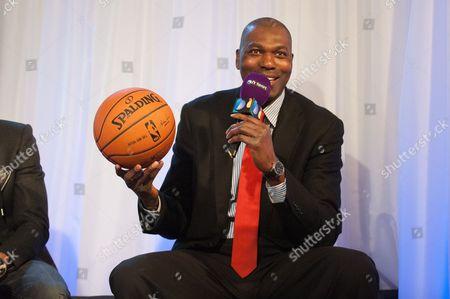 Editorial picture of New York Knicks v Milwaukee Bucks NBA basketball game at the O2, London, Britain - 15 Jan 2015