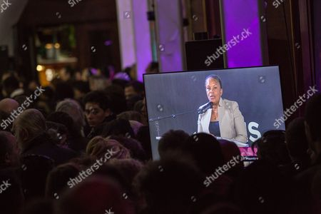 Stock Picture of French Justice minister Christine Taubira gives a speech