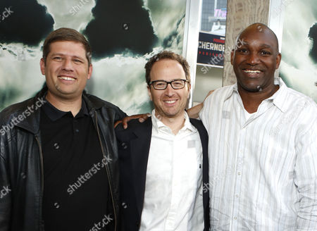 HOLLYWOOD, CA - MAY 23: Writer/Producer Oren Peli, Producer Brian Witten and Producer Broderick Johnson at Special Fan Screening of Warner Bros. 'Chernobyl Diaries' at ArcLight Cinemas Cinerama Dome on May 23, 2012 in Hollywood, California.