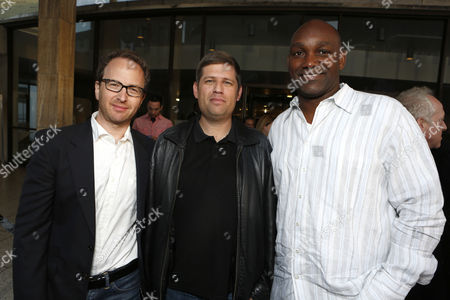 HOLLYWOOD, CA - MAY 23: Producer Brian Witten, Writer/Producer Oren Peli and Producer Broderick Johnson at Special Fan Screening of Warner Bros. 'Chernobyl Diaries' at ArcLight Cinemas Cinerama Dome on May 23, 2012 in Hollywood, California.
