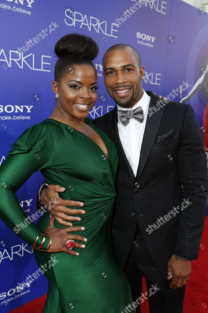 HOLLYWOOD, CA - AUGUST 16: Brely Evans and Omari Hardwick at TriStar Pictures 'Sparkles' Premiere held at Grauman's Chinese Theatre on August 16, 2012 in Hollywood, California.