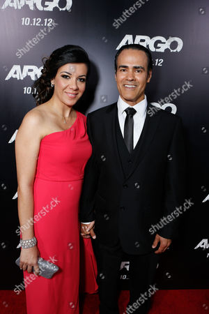 Stock Picture of BEVERLY HILLS, CA - OCTOBER 04: Mahsa Hadjiaghai and Ali Saam at the Los Angeles Premiere Of Warner Bros. Pictures' 'Argo' held at AMPAS Samuel Goldwyn Theater on October 4, 2012 in Beverly Hills, California. Mahsa Hadjiaghai Ali Saam