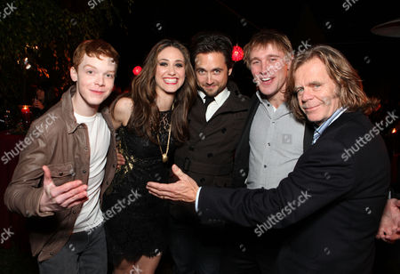 LOS ANGELES, CA - DECEMBER 01: (EXCLUSIVE COVERAGE) 'Shameless' cast members Cameron Monaghan, Emmy Rossum, Justin Chatwin, Tyler Jacob Moore and William H. Macy at Showtime's 6th Annual Holiday Soiree held at The Quincy Estate on December 1, 2011 in Los Angeles, California. Cameron Monaghan Emmy Rossum Justin Chatwin Tyler Jacob Moore William H. Macy