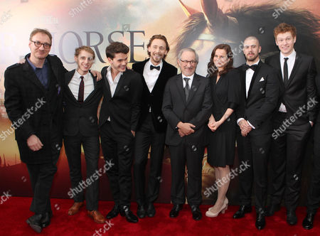 NEW YORK, NY - DECEMBER 04: David Thewlis, Robert Emms, Jeremy Irvine, Tom Hiddleston, Director/Producer Steven Spielberg, Emily Watson, Toby Kebbell, and Matt Milne at The World Premiere of DreamWorks Pictures' 'War Horse' at Avery Fisher Hall at Lincoln Center for The Performing Arts on December 04, 2011 in New York City, NY. David Thewlis Robert Emms Jeremy Irvine Tom Hiddleston Steven Spielberg Emily Watson Toby Kebbell Matt Milne