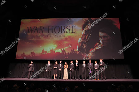 NEW YORK, NY - DECEMBER 04: Director/Producer Steven Spielberg, Jeremy Irvine, Emily Watson, Toby Kebbell, Celine Buckens, David Cross, Tom Hiddleston, Patrick Kennedy, David Thewlis, Robert Emms and Matt Milne at The World Premiere of DreamWorks Pictures' 'War Horse' at Avery Fisher Hall at Lincoln Center for The Performing Arts on December 04, 2011 in New York City, NY. Steven Spielberg Jeremy Irvine Emily Watson Toby Kebbell Celine Buckens David Cross Tom Hiddleston Patrick Kennedy David Thewlis Robert Emms Matt Milne