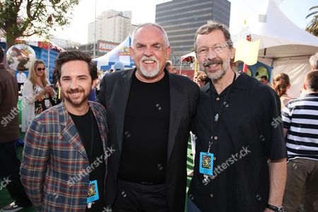 Stock Photo of HOLLYWOOD, CA - JUNE 13: John Morris, John Ratzenberger and Pixar's Ed Catmull at the World Premiere of Disney/Pixar's 'Toy Story 3' on June 13, 2010 at the El Capitan Theatre in Hollywood, California.