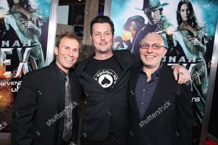 HOLLYWOOD, CA - JUNE 17: Producer Andrew Lazar, Director Jimmy Hayward and Producer Akiva Goldsman at Warner Bros. Pictures Los Angeles Screening of 'Jonah Hex' on June 17, 2010 at the Cinerama Dome Theatre in Hollywood, California.
