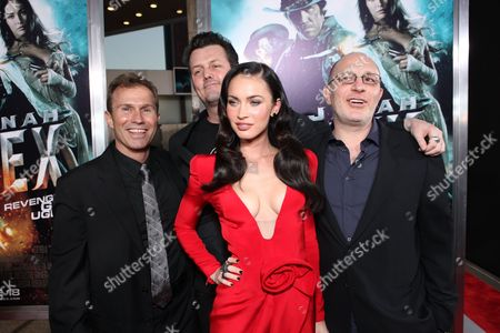 HOLLYWOOD, CA - JUNE 17: Producer Andrew Lazar, Director Jimmy Hayward, Megan Fox and Producer Akiva Goldsman at Warner Bros. Pictures Los Angeles Screening of 'Jonah Hex' on June 17, 2010 at the Cinerama Dome Theatre in Hollywood, California.