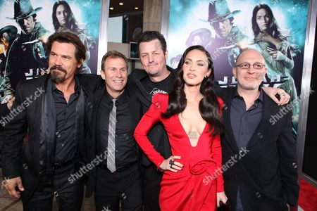 HOLLYWOOD, CA - JUNE 17: Josh Brolin, Producer Andrew Lazar, Director Jimmy Hayward, Megan Fox and Producer Akiva Goldsman at Warner Bros. Pictures Los Angeles Screening of 'Jonah Hex' on June 17, 2010 at the Cinerama Dome Theatre in Hollywood, California.