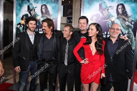 HOLLYWOOD, CA - JUNE 17: Wes Bentley, Josh Brolin, Producer Andrew Lazar, Director Jimmy Hayward, Megan Fox and Producer Akiva Goldsman at Warner Bros. Pictures Los Angeles Screening of 'Jonah Hex' on June 17, 2010 at the Cinerama Dome Theatre in Hollywood, California.