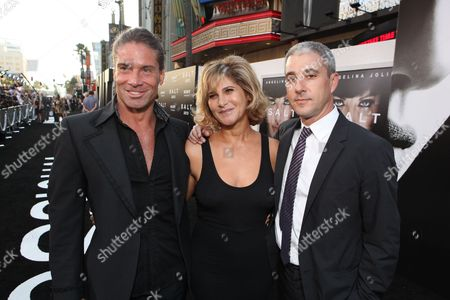 HOLLYWOOD, CA - JULY 19: Writer Kurt Wimmer, Sony's Amy Pascal and Sony's Matt Tolmach at the Premiere of Columbia Pictures' 'SALT' on July 19, 2010 at the Graumans' Chinese Theatre in Hollywood, California.