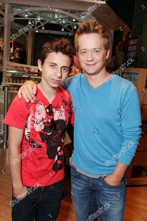 SANTA MONICA, CA - AUGUST 06: Moises Arias and Jason Earles at the Opening of the new Disney Store at Santa Monica Place on August 05, 2010 at Santa Monica Place in Santa Monica, California.