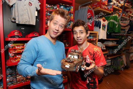 SANTA MONICA, CA - AUGUST 06: Jason Earles and Moises Arias at the Opening of the new Disney Store at Santa Monica Place on August 05, 2010 at Santa Monica Place in Santa Monica, California.
