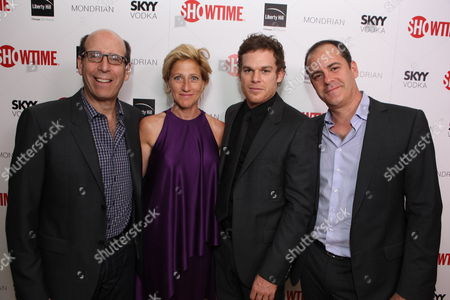 WEST HOLLYWOOD, CA - AUGUST 28: Showtime's Matt Blank, Edie Falco, Michael C. Hall and Showtime's David Nivens at Showtime's 2010 Emmy Nominees Party on August 28, 2010 at Skybar at Mondrian in West Hollywood, California.