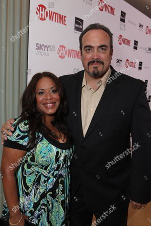 WEST HOLLYWOOD, CA - AUGUST 28: Liza Colon-Zayas and David Zayas at Showtime's 2010 Emmy Nominees Party on August 28, 2010 at Skybar at Mondrian in West Hollywood, California.