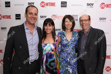WEST HOLLYWOOD, CA - AUGUST 28: Showtime's David Nevins, Andrea Nevins, Susan Blank and Showtime's Matt Blank at Showtime's 2010 Emmy Nominees Party on August 28, 2010 at Skybar at Mondrian in West Hollywood, California.