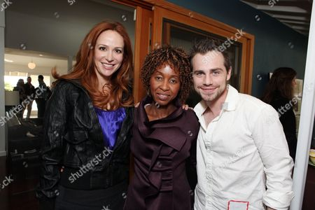 LOS ANGELES, CA - NOVEMBER 21: Rebecca Creskoff, AMF's Malenia Ruth and Rider Strong at the African Millennium Foundation Fundraiser Partnered with Grey Goose to raise funds to buy solar ovens for AIDS orphans at Private Residence on November 21, 2010 in Los Angeles, California. Rebecca Creskoff Malenia Ruth Rider Strong