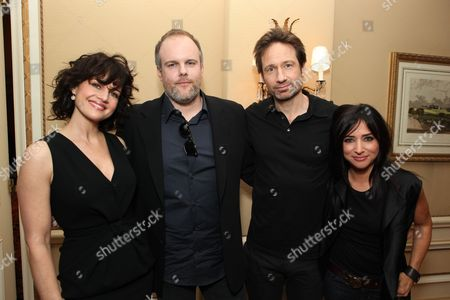 PASADENA, CA - JANUARY 14: **EXCLUSIVE** Carla Gugino, Creator/Exec. Producer Tom Kapinos, David Duchovny and Pamela Adlon at Showtime's 2011 Winter TCA at Langham Hotel on January 14, 2011 in Pasadena, California. Carla Gugino Tom Kapinos David Duchovny Pamela Adlon