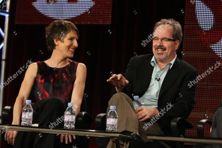 PASADENA, CA - JANUARY 14: Tamsin Greig and John Pankow at Showtime's 2011 Winter TCA at Langham Hotel on January 14, 2011 in Pasadena, California. Tamsin Greig John Pankow