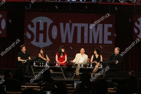PASADENA, CA - JANUARY 14: David Duchovny, Pamela Adlon, Madeleine Martin, Evan Handler, Carla Gugino and Creator/Eec. Producer Tom Kapinos at Showtime's 2011 Winter TCA at Langham Hotel on January 14, 2011 in Pasadena, California. David Duchovny Pamela Adlon Madeleine Martin Evan Handler Carla Gugino Tom Kapinos