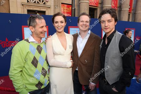 HOLLYWOOD, CA - JANUARY 23: Producer Baker Bloodworth, Emily Blunt, Producer Steve Hamilton Shaw and James McAvoy at Touchstone Pictures World Premiere of 'Gnomeo and Juliet' at the El Capitan Theatre on January 23, 2011 in Hollywood, California. Baker Bloodworth Emily Blunt Steve Hamilton Shaw James McAvoy